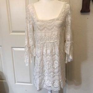 Free People White Lace 3/4 Bell Sleeve Dress Sz M